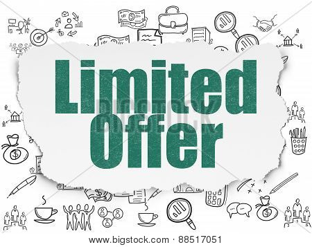 Finance concept: Limited Offer on Torn Paper background