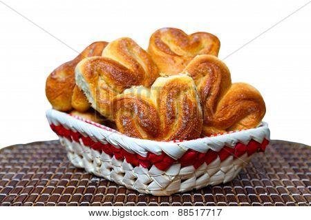 Fresh Homemade Buns In A Basket On A Bamboo Tray On A White Background