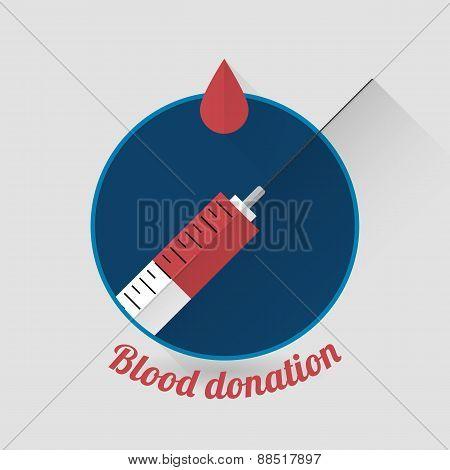 Flat style blood donation icon