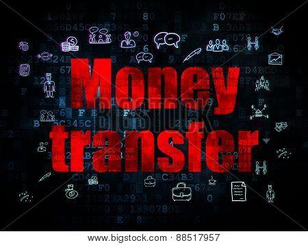 Finance concept: Money Transfer on Digital background