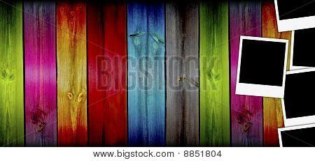 Blank Photos on Creative Wood Background