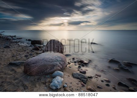 Rocky Sea Shore, Long Exposure Photo