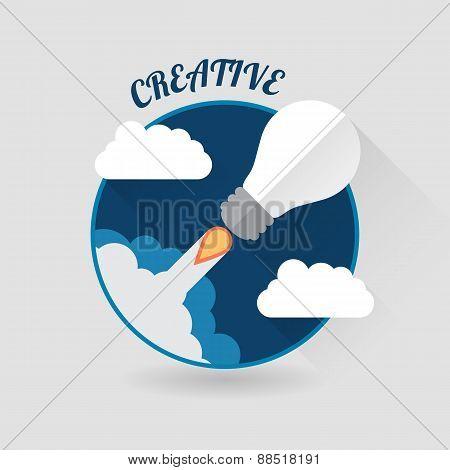 Art launch light bulb. Creative start conceptFlat design