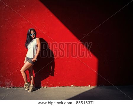 Sexy fashionable woman outdoors