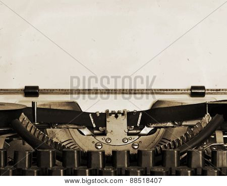 obsolete typewriter with paper, vector