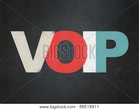 Web development concept: VOIP on School Board background