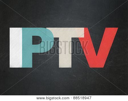 Web development concept: IPTV on School Board background