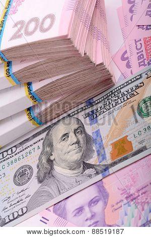 Ukrainian Hryvnia And American Dollars