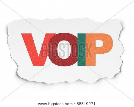 Web design concept: VOIP on Torn Paper background