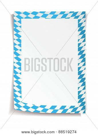 Oktoberfest board in bavarian colors on white background