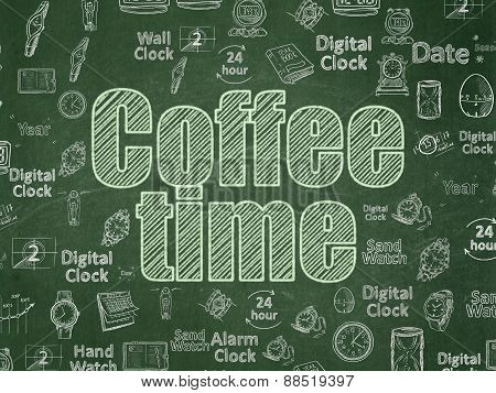Time concept: Coffee Time on School Board background