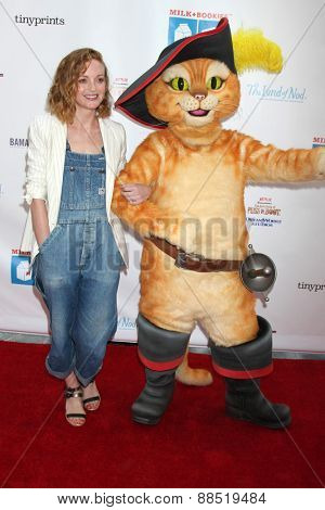LOS ANGELES - FEB 19:  Jayma Mays, Puss In Boots at the Milk+Bookies Sixth Annual Story Time Celebration at the Toyota Grand Prix Racecourse on April 19, 2015 in Long Beach, CA