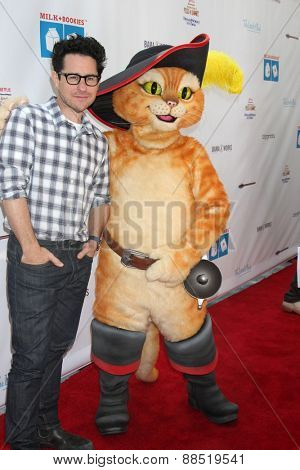 LOS ANGELES - FEB 19:  J.J. Abrams, Puss in Boots at the Milk+Bookies Sixth Annual Story Time Celebration at the Toyota Grand Prix Racecourse on April 19, 2015 in Long Beach, CA