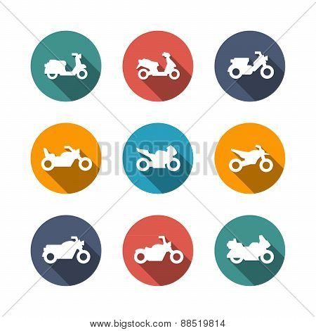 Set Flat Icons Of Motorcycles