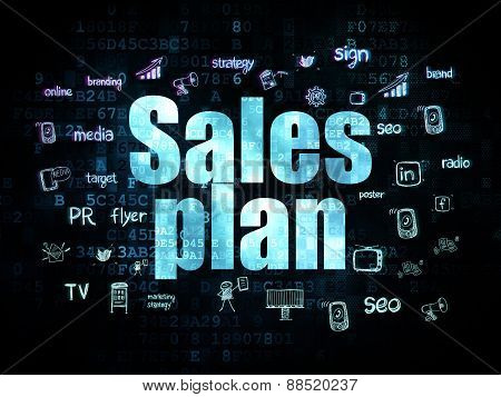 Advertising concept: Sales Plan on Digital background