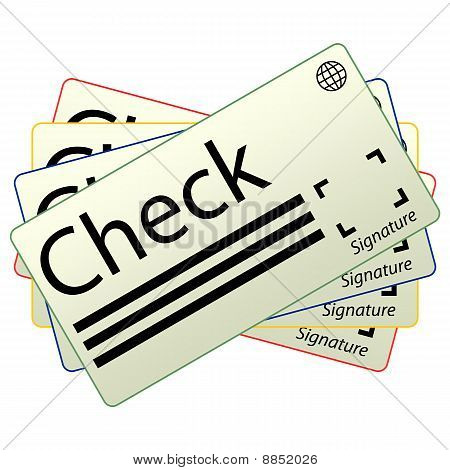 Money Check Icon, set of 4