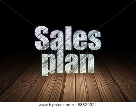 Marketing concept: Sales Plan in grunge dark room