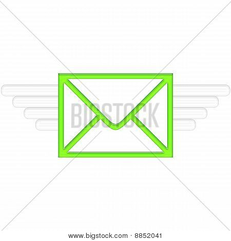 Air Mail delivery wings in green color