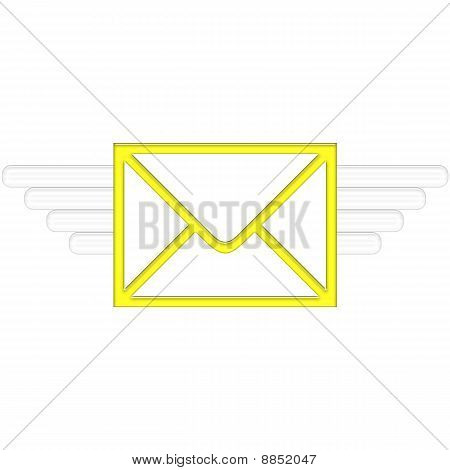 Air Mail delivery wings in yellow color