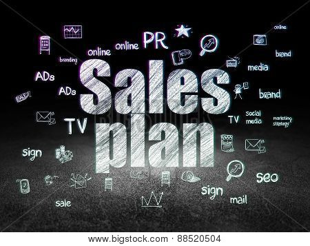 Advertising concept: Sales Plan in grunge dark room