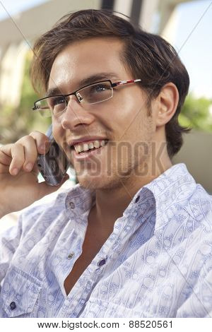 Young  office man speaking on smart phone