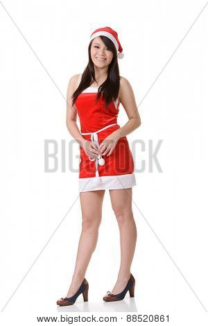Asian Christmas girl, full length portrait on white background.