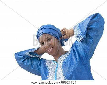 Afro beauty wearing a traditional headscarf, isolated