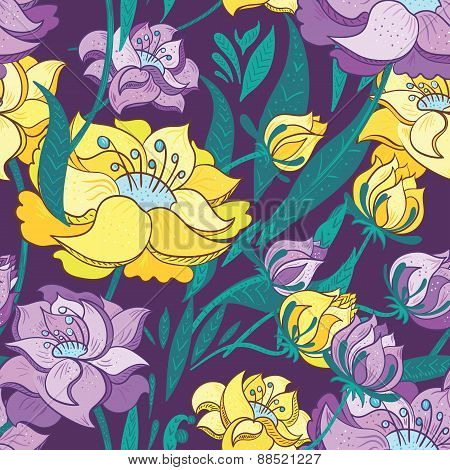 Purple and Yellow Peony Vector Pattern