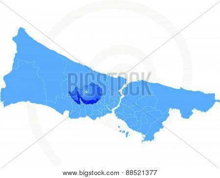 Map Of Istanbul With Each Administrative District Where Basaksehir Is Pulled Out