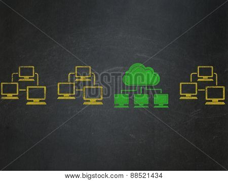 Cloud technology concept: cloud network icon on School Board