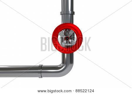 Industrial Pipeline With Red Valve Isolated