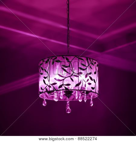 Interior lampshade purple and pink color lighting dark mood