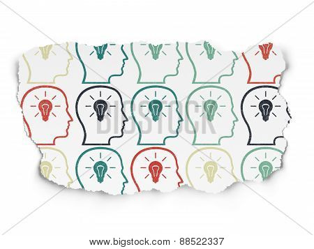Education concept: Head icons on Torn Paper background