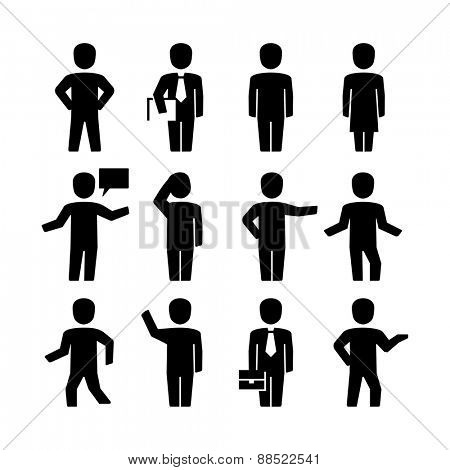 Vector human body action poses pictogram icons