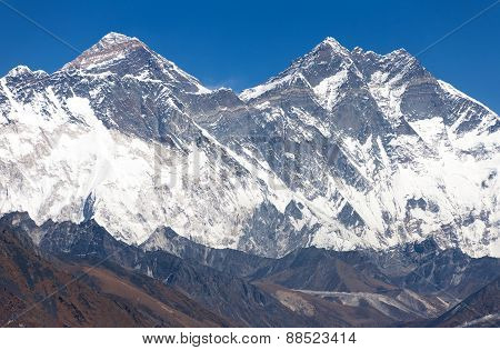 View Of Mount Everest, Nuptse Rock Face, Lhotse