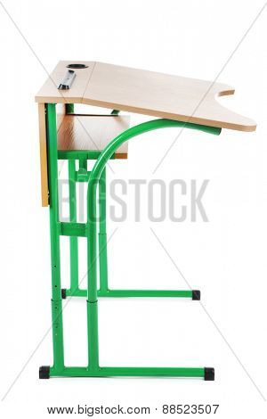 Wooden school desk isolated on white