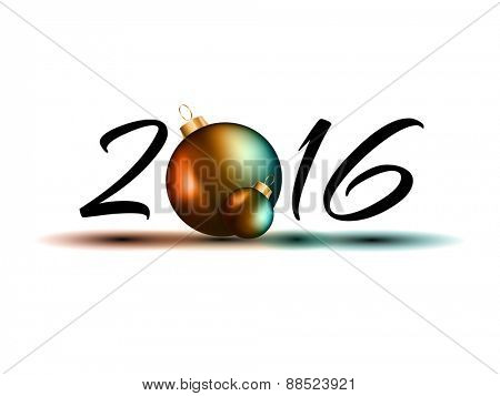 2016 Happy New Year Background Isolated on white.