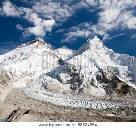 Mount Everest, Lhotse And Nuptse From Pumo Ri Base Camp