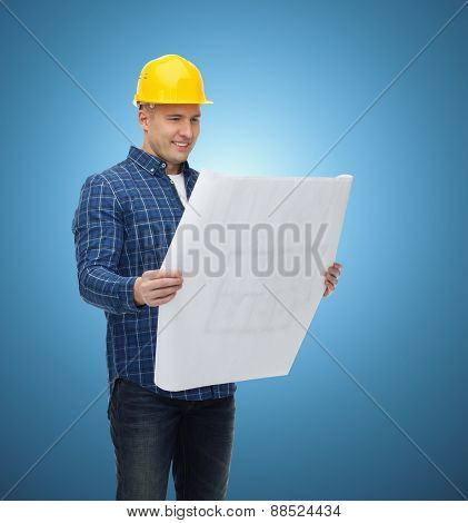 repair, construction, building, people and maintenance concept - smiling male builder or manual worker in helmet with blueprint over blue background