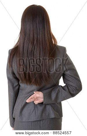 Business woman cross finger with cheat sign, closeup portrait on white background.