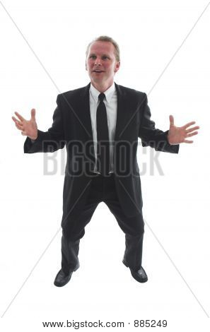 Stock Photo Of Expansive Man In Black Suit