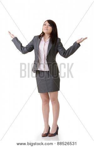 Business woman open arms and feel free, full length portrait on white background.