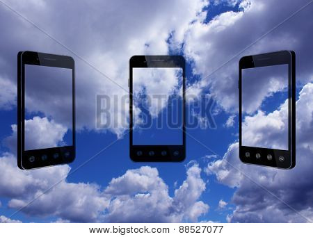 Smart-phones Transparent On The Blue Sky Background