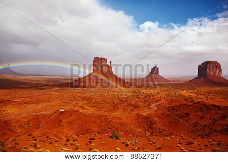 Red stone desert Navajo, USA. Isolated rocks -