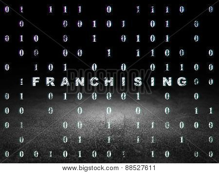 Finance concept: Franchising in grunge dark room