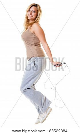 Sporty Girl Plus Size Doing Exercise With Jump Rope.