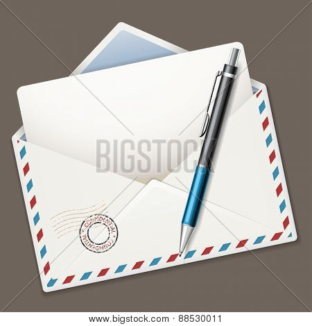 Illustration ballpoint pen and airmail envelope isolated on dark background.