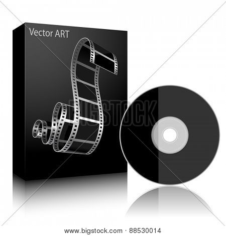Software. DVD Disc and Black Boxon white background. Illustration.