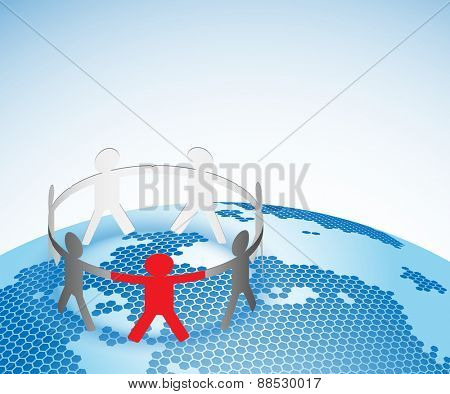 Abstract Illustration of the Planet Earth and Paper People in a Team.