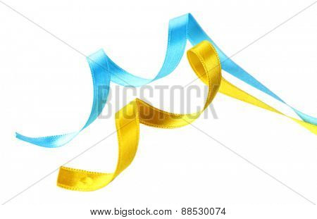 Colorful blue and yellow ribbons isolated on white